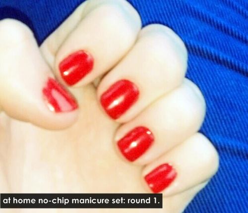 I got the sensatioNAIL no-chip starter kit. I think, for a first timer, it turned out pretty dang good!